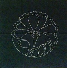 "Peony design, preprinted on a 14"" square of dark blue cotton fabric for sashiko stitching."