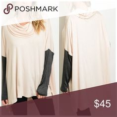 """ARRIVES 8/25 Oversized Cozy Tunic Nude oversized high-low tunic w/ cowl neck & charcoal sleeve detail. 94% Rayon 4% Spandex & is 32"""" in length. Arrives Thursday 8/25! Tops Tunics"""