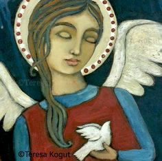 """Symbol of Peace"" original painting by Teresa Kogut. In this day of unrest, fear and brutality, we need to keep peace at the center of our lives. Wishing you #peace in your hearts and homes. #angel #art"