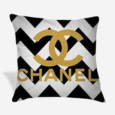 Cushion Cover Designs, Chevron Throw Pillows, Custom Pillow Cases, Chanel Logo, Black Chevron, Vintage Gifts, The Ordinary, Throw Pillow Covers, Cushions