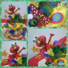 Torta Infantil para Davi, Elmo supercoloriada #torta #cumpleaños #tortas #infantiles #eventos