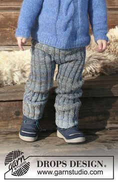 Winter Wolf - Children's knitted pants with rib. The piece is worked in 2 strands DROPS Fabel. - Free pattern by DROPS Design Baby Boy Knitting Patterns, Beginner Knitting Patterns, Knitting For Kids, Baby Patterns, Free Knitting, Baby Knitting, Knitting Needles, Crochet Patterns, Drops Design