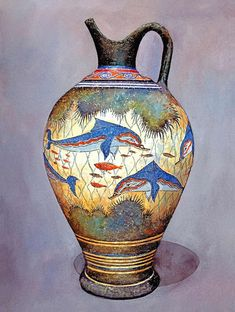 Minoan Urn 2: Colourful dolphins, coral and fish decorate this urn. It is a modern-day replica of a style that was produced in Minoan times. The original vases produced around the area of Santorini were used for storage of staples like olive oil, wine and almonds | Zografos Gallery