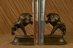 Vintage Art Deco Elephant Bookends Metal Bronze Figurine