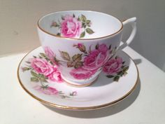 Vintage Clarence Bone China Red and Pink Roses by TheDaintyBullet, $15.00