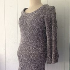 Med/Large sweater dress, tunic pullover in rayon viscose cotton, stretchy knit pullover, gift for women, gift for her, grey white dress by NellieLaan on Etsy