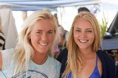 Bethany Hamilton and AnnaSophia Robb on the Soul Surfer movie set.