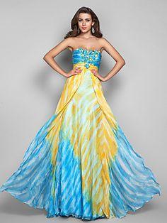 A-line/Princess Strapless Floor-length Print Chiffon Evening Dress | LightInTheBox