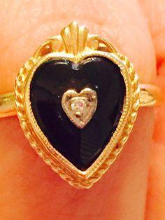 Antique Art Deco Heart Black Onyx Diamond Ring 10k Yellow Gold Gothic Size 6 #Handmade #Cocktail