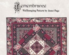 Check out Remembrance Quilted Wallhanging Pattern by Janet Page, Crafts & Supplies on attictreasuresbyjudy