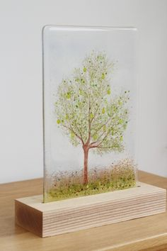 fused glass panel - I like the stand....
