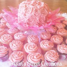 Rosette cupcakes and smash cake for baby girl