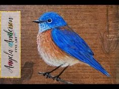 Learn to paint a bluebird with artist Angela Anderson. This acrylic painting tutorial shows how to create a mixed media background using gel medium and dicti...