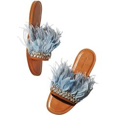 The love for these jewel feather sliders Cute Sandals, Slide Sandals, Shoes Sandals, Flat Sandals, Dress Shoes, Strappy Sandals, Top 10 Shoes, Jeweled Shoes, Miu Miu Shoes