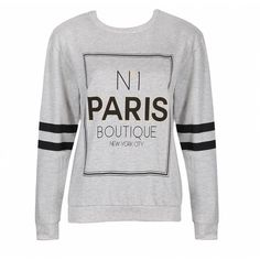 Ally Fashion No1 paris boutique sweat top ($14) ❤ liked on Polyvore featuring tops, hoodies, sweatshirts, sweatshirts hoodies, sweat shirts, print top, patterned sweatshirts y long sleeve tops