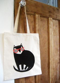 Cool Cat Tote Bag by blackoutwell on Etsy, £8.00