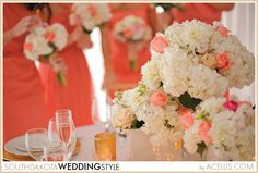 coral, pink, blush, gold and white wedding details