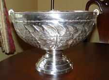 Lovely Silver Plate Punch Bowl - Repousse Design - Hammered - Champagne Chiller