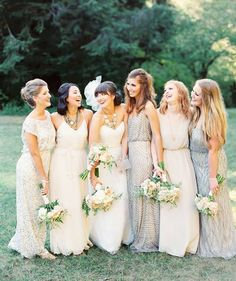 A mix of ombre shades and patterns in a neutral palette / bridesmaid dress photography by Erich McVey Photography