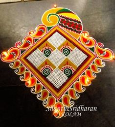 Decorate your home with small rangoli designs at this festive season. Browse the best collections of small and creative rangoli design ideas for Diwali. Indian Rangoli Designs, Rangoli Designs Latest, Simple Rangoli Designs Images, Rangoli Designs Flower, Rangoli Designs With Dots, Kolam Designs, Flower Rangoli, Rangoli Colours, Rangoli Patterns