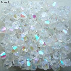 Isywaka Sale White AB Color 100pcs 4mm Bicone Austria Crystal Beads charm Glass Beads Loose Spacer Bead for DIY Jewelry Making  Price: 0.59 USD