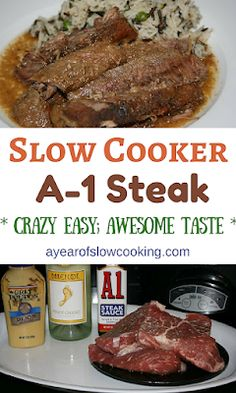 Steak Sauce and Dijon mustard come together to make a delicious sauce that the steak pieces simmer in all day in your crockpot slow cooker. Everything here is naturally gluten free. If you don't wa (Crockpot Recipes Cheap) Crockpot Steak Recipes, Chuck Steak Recipes, Beef Chuck Steaks, Slow Cooker Recipes, Crockpot Recipes, Cooking Recipes, Steak In The Crockpot, Healthy Recipes, Recipes