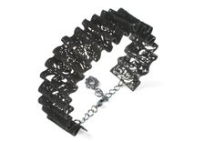 Ruffle Metal Lace Bracelet with charcoal patina by inbarshahak