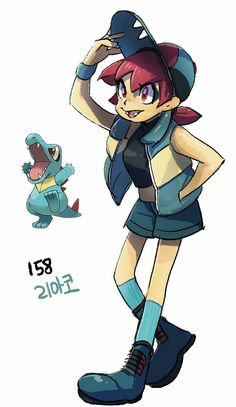 Totodile (#158) by Tamtamdi (link contains about 251 Pokemon by number: http://hitek.fr/42/pokemon-humanise-tamtamdi_4341)