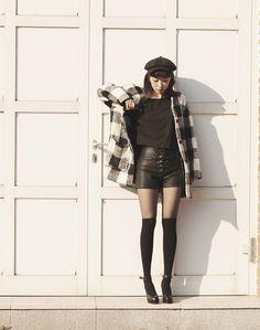 Artfit Elsta Plaid Wool Blend Coat, Artfit Kaff Lace Up Leather Shorts