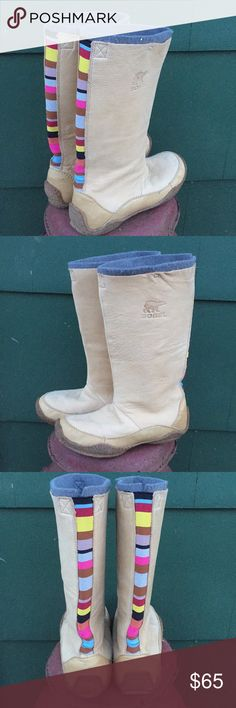 Sorel Tall Tan Leather Boots Sorel Tall Tan Leather Boots. Lined. Striped detail down back. Non-skid. No trades Sorel Shoes