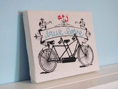 embroidered screenprint tandem bicycle wall hanging