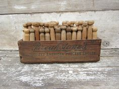 Antique Wood Cheese Box Crate w/Vintage Wood Clothes Pins