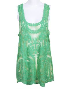 Green Sleeveless Embroidery Hollow Lace Vest - Sheinside.com