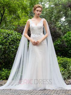 Ericdress Charming V Neck Sheath Wedding Dress 1