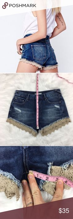 Free People Lacey Cutoff High Waisted Shorts Free People Lacey Cutoff High Waisted Shorts. Size 26. Measurements are listed in photo. Good pre-owned condition. Label is rolling slightly from washing. Lace is a cream/tan color.  ❌I do not Trade 🙅🏻 Or model💲 Posh Transactions ONLY Free People Shorts Jean Shorts