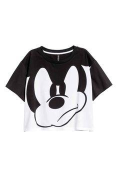 T-shirt court - Blanc/Mickey - FEMME | H&M FR