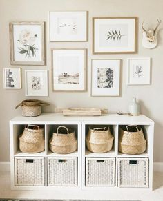 Beautiful way to not only organize your photos, but shoes or toys as well. I am … – Farmhouse Decoration – einrichtungsideen wohnzimmer Home Living Room, Living Room Decor, Bedroom Decor, Living Room Playroom, Bedroom Table, Interior Ikea, Interior Design, Entryway Wall Decor, Ikea Wall Decor