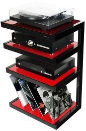 Norstone Esse Hi Fi Vinyl Noir Verres Rouges Meubles Hi Fi Meuble Hifi Meuble Multimedia Salle Audio