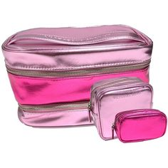 Victoria's Secret 3-Piece Pink Cosmetic Travel Bag (1,025 DOP) ❤ liked on Polyvore featuring beauty products, beauty accessories, bags & cases, toiletry kits, makeup bag case, toiletry bag, cosmetic purse and wash bag