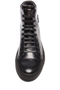 Image 4 of Acne Studios Adrian High Top Face Leather Sneakers in Black 57688e60f2f