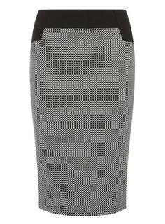 Monochrome Printed Pencil Skirt