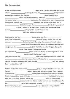 Mrs. Ramsey's Night - Mixed Tenses Worksheet