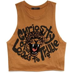 Forever 21 Women's  Curious Leopard Graphic Tank (29 BRL) ❤ liked on Polyvore featuring tops, crop tops, shirts, tank tops, crop top, graphic shirts, cropped tank top, graphic tanks and cat tank