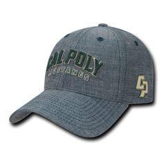 NCAA Cal Poly Mustangs University Structured Denim Baseball Caps Hats Blue f647ba68753c