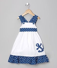 White & Blue Anchor Jumper - Infant, Toddler & Girls by Stellybelly on Marie Sadie would look so cute in this!Crafted with soft cotton and simple buttons for easy changing and dressing, this peppy maritime piece is sure to anchor any little lady's co Toddler Dress, Toddler Outfits, Kids Outfits, Infant Toddler, Toddler Girls, Little Dresses, Little Girl Dresses, Girls Dresses, Baby Dresses