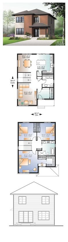 House Plan 76316 - Contemporary, Modern Style House Plan with 1768 Sq Ft, 3 Bed, 2 Bath Modern Floor Plans, Modern House Plans, Small House Plans, Modern Garage, Best House Plans, Dream House Plans, House Floor Plans, Sims House Plans, House Layout Plans