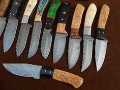 Custom Made Damascus Hunting Knives Lor of 10