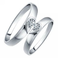 1-piece Man Platinum Plated Ring Finger Ring Lover Rhinestone Heart