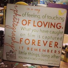 Hand Painted Photograph Sign. Colors of your Choice. Photography is a way of feeling of touching of loving quote Typography, Subway Word Art on Etsy, $40.00