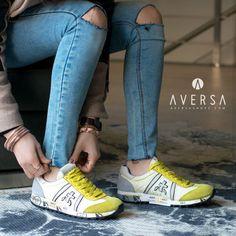 Premiata Sneaker pelle + tessuto giallo
